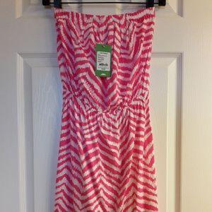 Tropical Pink Zebron Windsor Strapless Dress